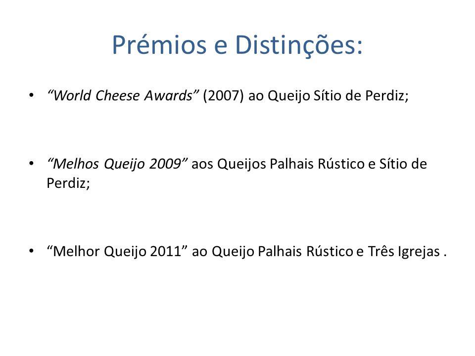 Prémios e Distinções: World Cheese Awards (2007) ao Queijo Sítio de Perdiz; Melhos Queijo 2009 aos Queijos Palhais Rústico e Sítio de Perdiz;