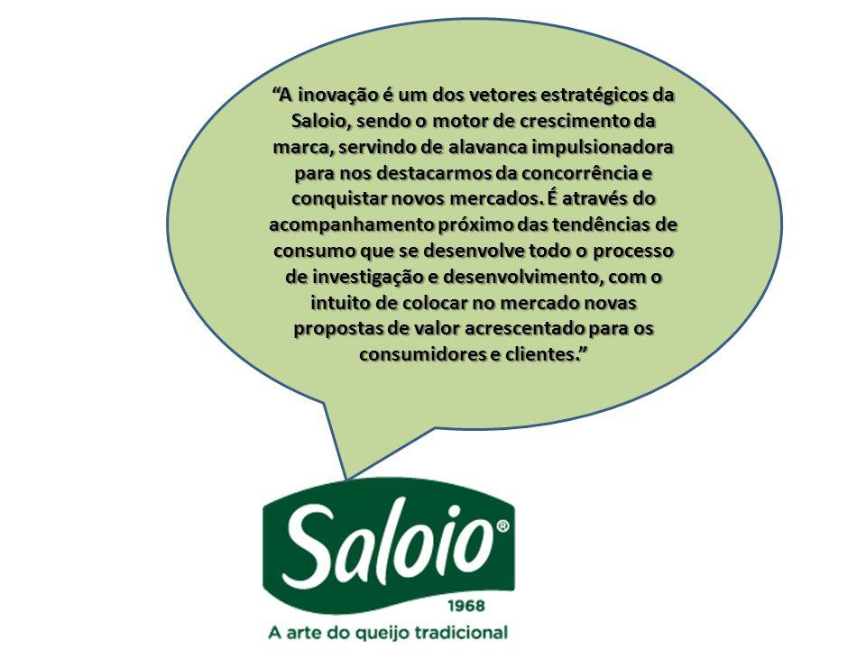 A inovação é um dos vetores estratégicos da Saloio, sendo o motor de crescimento da marca, servindo de alavanca impulsionadora para nos destacarmos da concorrência e conquistar novos mercados.