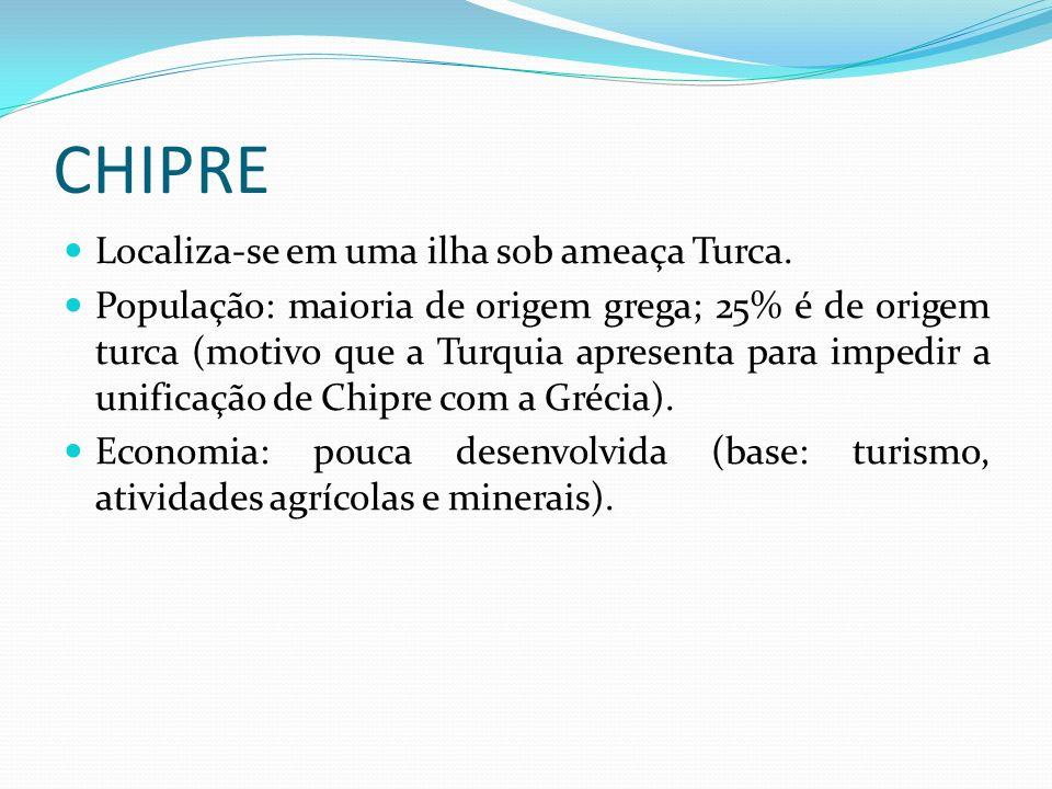 CHIPRE Localiza-se em uma ilha sob ameaça Turca.
