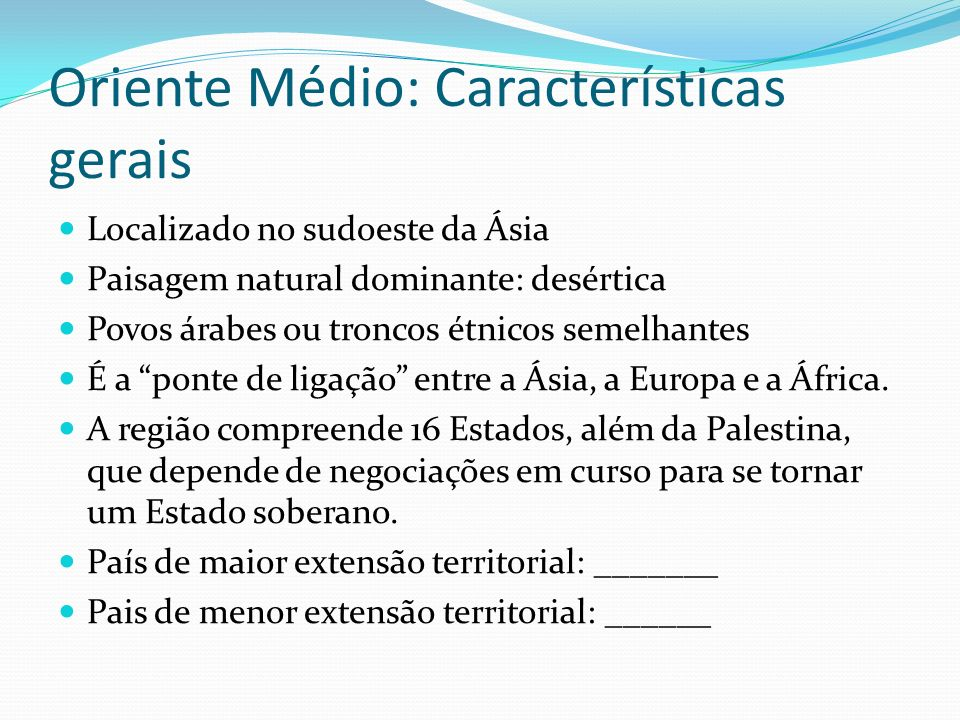 Oriente Médio: Características gerais