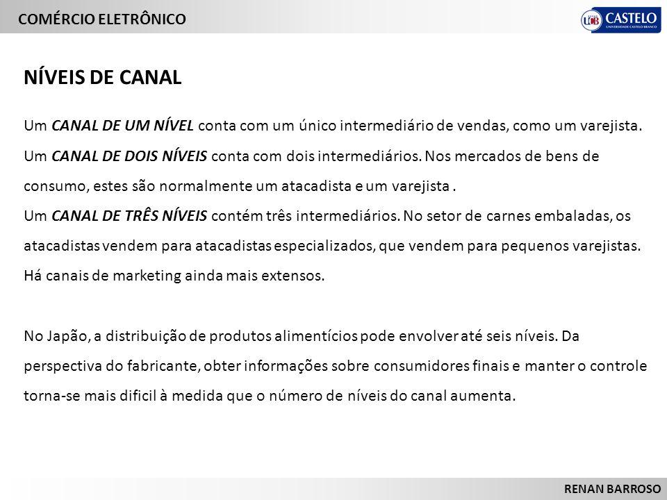 NÍVEIS DE CANAL Um CANAL DE UM NÍVEL conta com um único intermediário de vendas, como um varejista.
