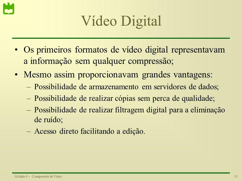 Vídeo Digital Os primeiros formatos de vídeo digital representavam a informação sem qualquer compressão;