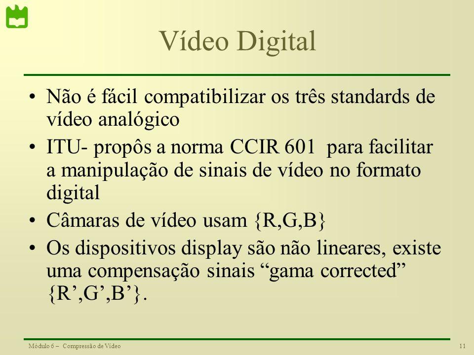 Vídeo Digital Não é fácil compatibilizar os três standards de vídeo analógico.