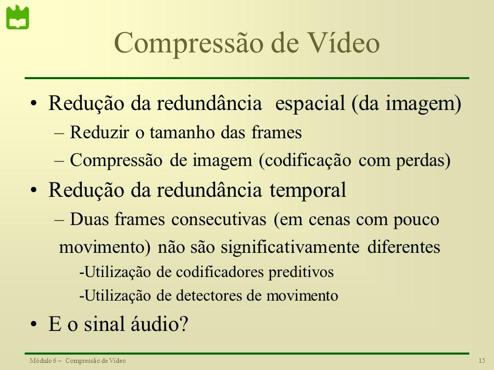 Compressão de Vídeo Redução da redundância espacial (da imagem)