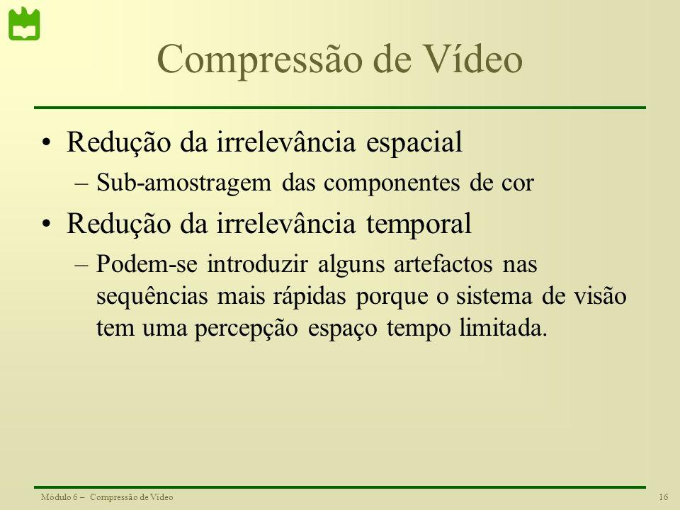 Compressão de Vídeo Redução da irrelevância espacial