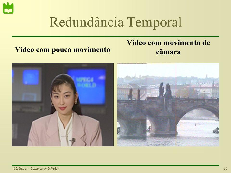 Vídeo com pouco movimento Vídeo com movimento de câmara