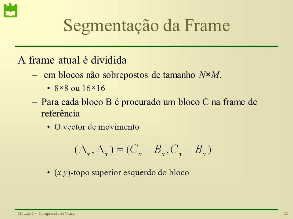 Segmentação da Frame A frame atual é dividida