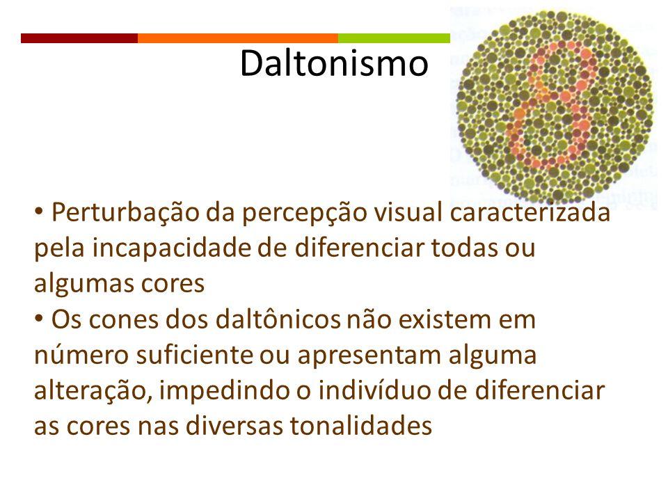 Daltonismo Perturbação da percepção visual caracterizada pela incapacidade de diferenciar todas ou algumas cores.