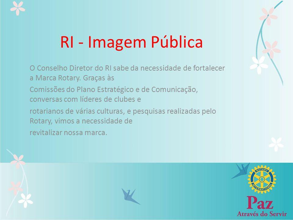RI - Imagem Pública O Conselho Diretor do RI sabe da necessidade de fortalecer a Marca Rotary. Graças às.