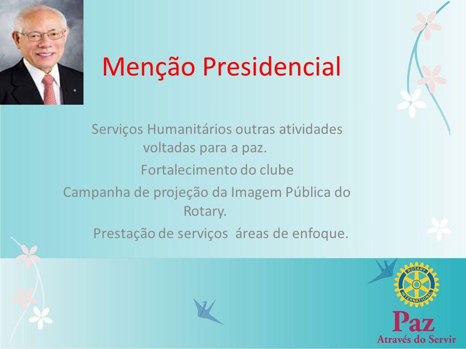 Menção Presidencial Serviços Humanitários outras atividades voltadas para a paz. Fortalecimento do clube.