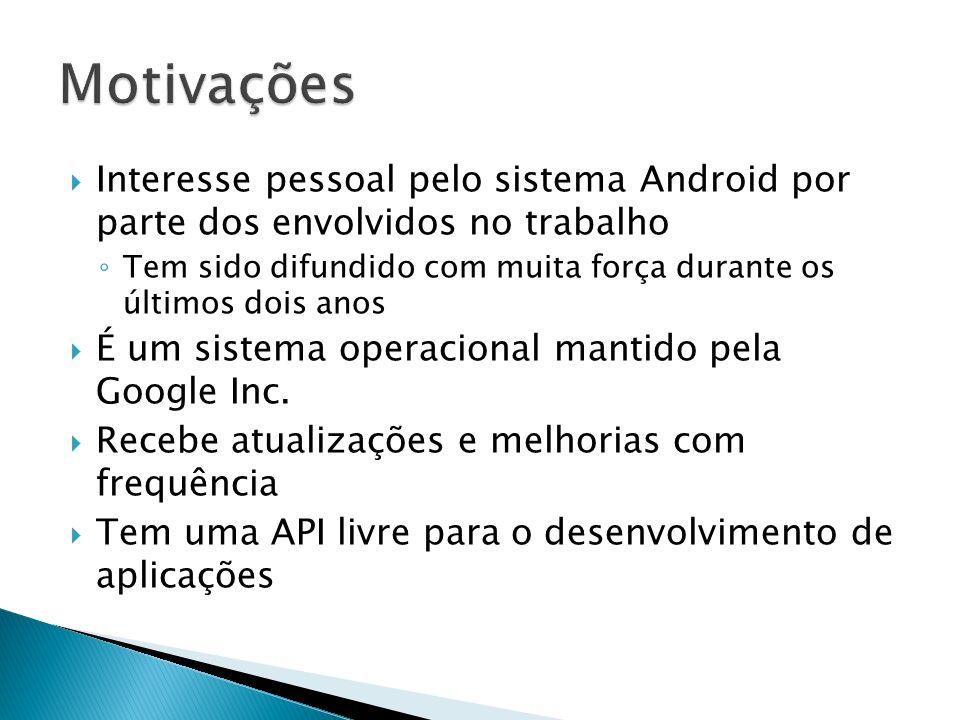 Motivações Interesse pessoal pelo sistema Android por parte dos envolvidos no trabalho.