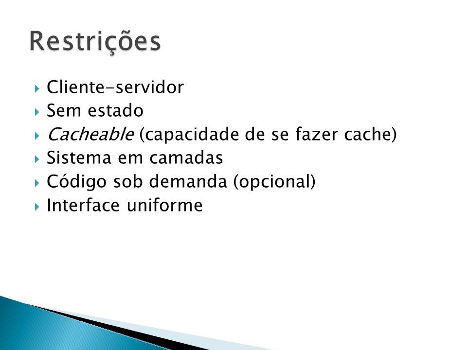 Restrições Cliente-servidor Sem estado