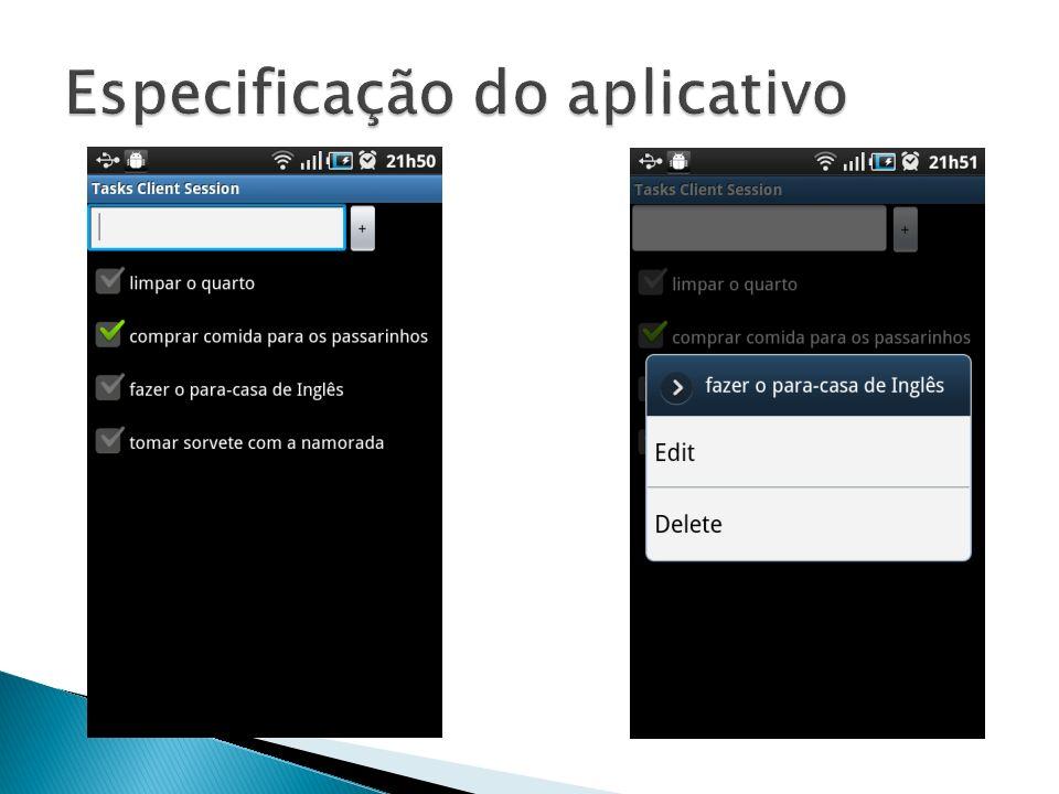 Especificação do aplicativo
