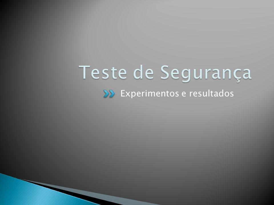 Teste de Segurança Experimentos e resultados