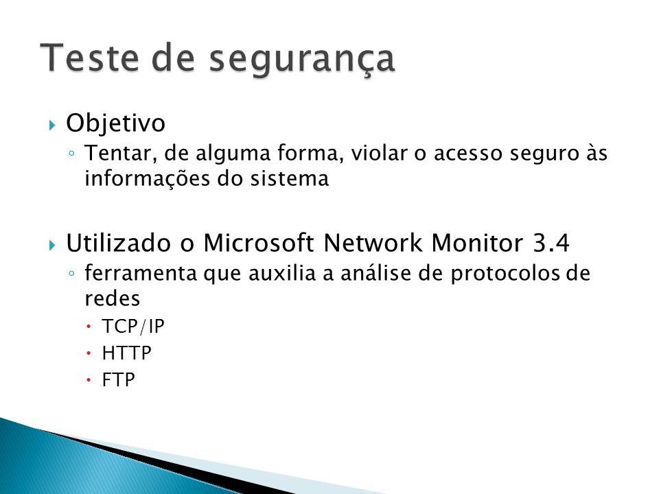Teste de segurança Objetivo Utilizado o Microsoft Network Monitor 3.4