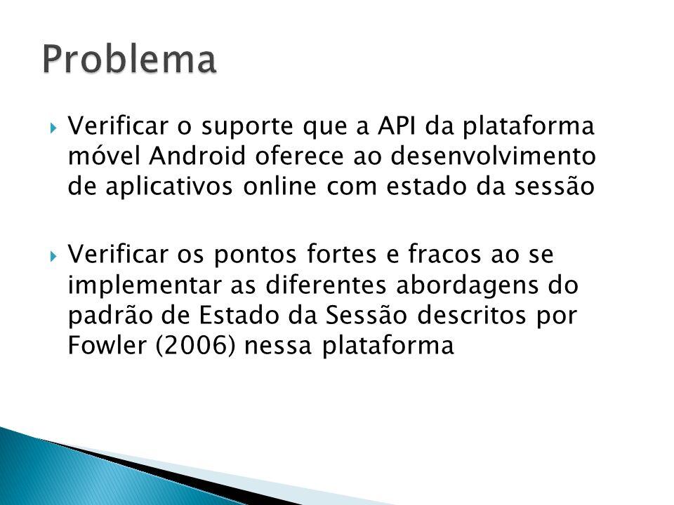 Problema Verificar o suporte que a API da plataforma móvel Android oferece ao desenvolvimento de aplicativos online com estado da sessão.
