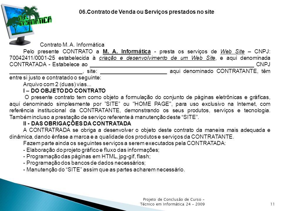 06.Contrato de Venda ou Serviços prestados no site