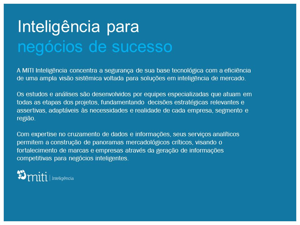 Inteligência para negócios de sucesso