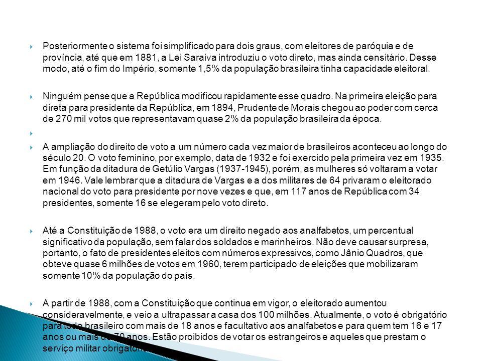 Posteriormente o sistema foi simplificado para dois graus, com eleitores de paróquia e de província, até que em 1881, a Lei Saraiva introduziu o voto direto, mas ainda censitário. Desse modo, até o fim do Império, somente 1,5% da população brasileira tinha capacidade eleitoral.