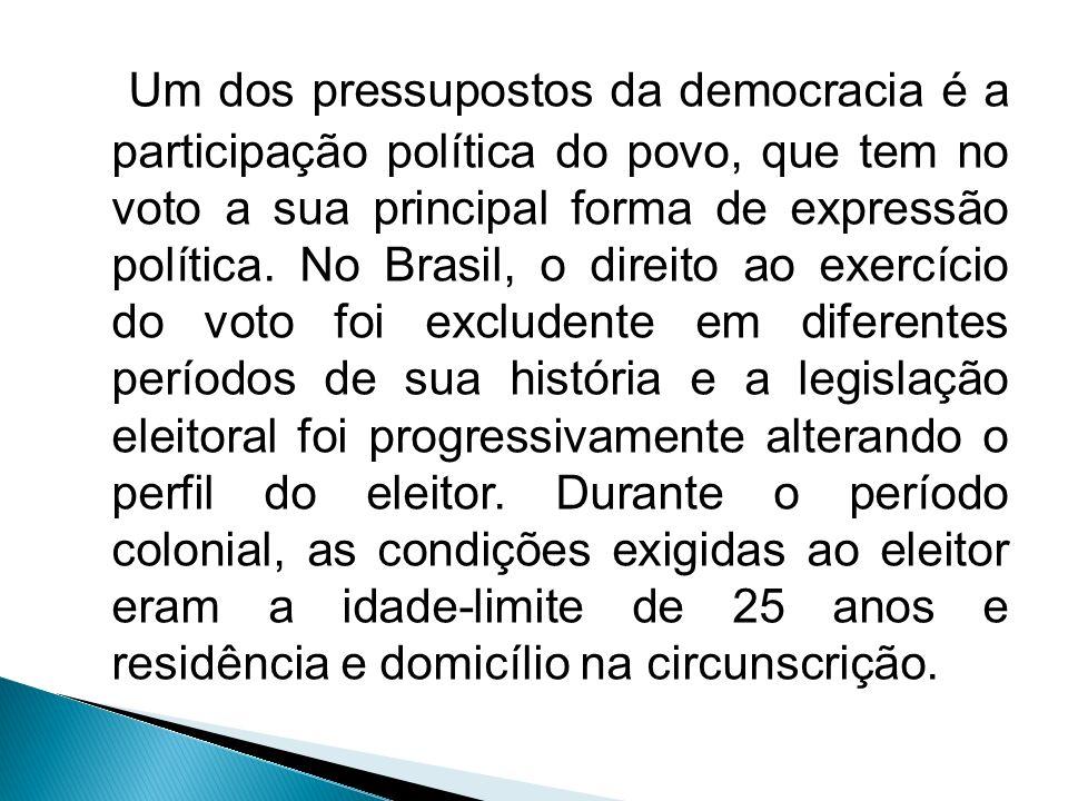 Um dos pressupostos da democracia é a participação política do povo, que tem no voto a sua principal forma de expressão política.