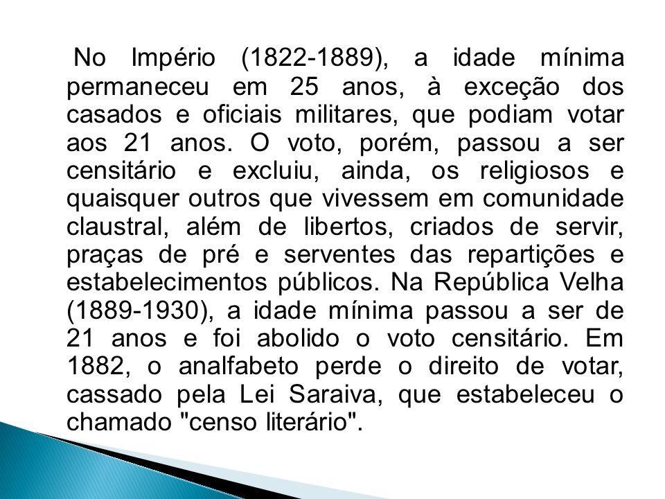 No Império (1822-1889), a idade mínima permaneceu em 25 anos, à exceção dos casados e oficiais militares, que podiam votar aos 21 anos.