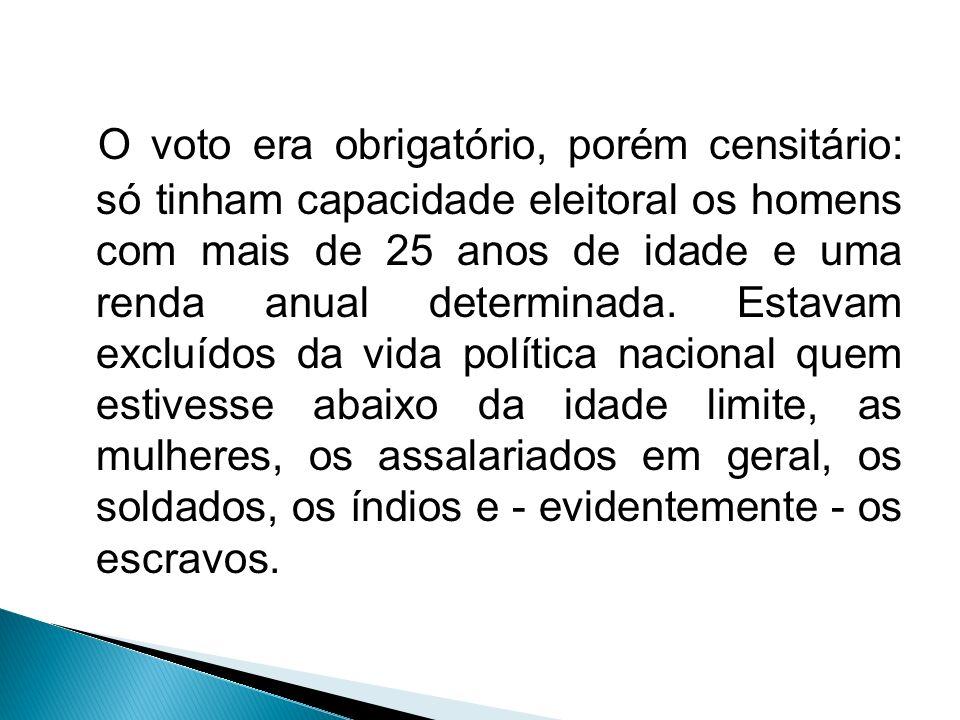 O voto era obrigatório, porém censitário: só tinham capacidade eleitoral os homens com mais de 25 anos de idade e uma renda anual determinada.