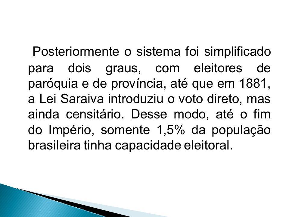 Posteriormente o sistema foi simplificado para dois graus, com eleitores de paróquia e de província, até que em 1881, a Lei Saraiva introduziu o voto direto, mas ainda censitário.