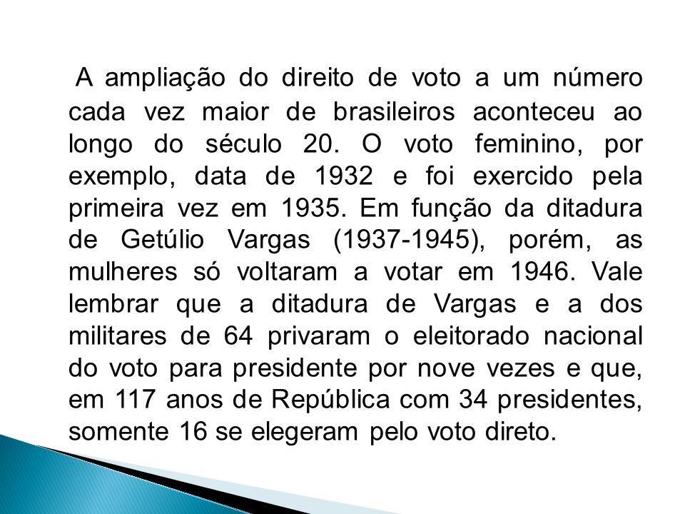 A ampliação do direito de voto a um número cada vez maior de brasileiros aconteceu ao longo do século 20.