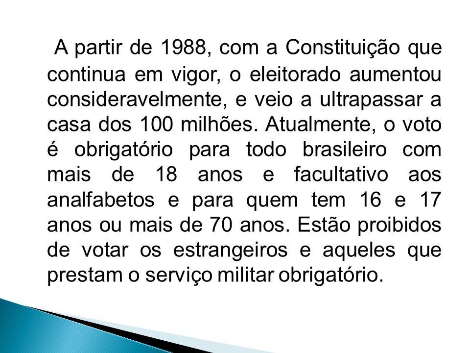 A partir de 1988, com a Constituição que continua em vigor, o eleitorado aumentou consideravelmente, e veio a ultrapassar a casa dos 100 milhões.
