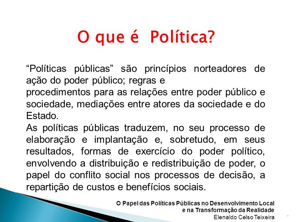 O que é Política Políticas públicas são princípios norteadores de ação do poder público; regras e.