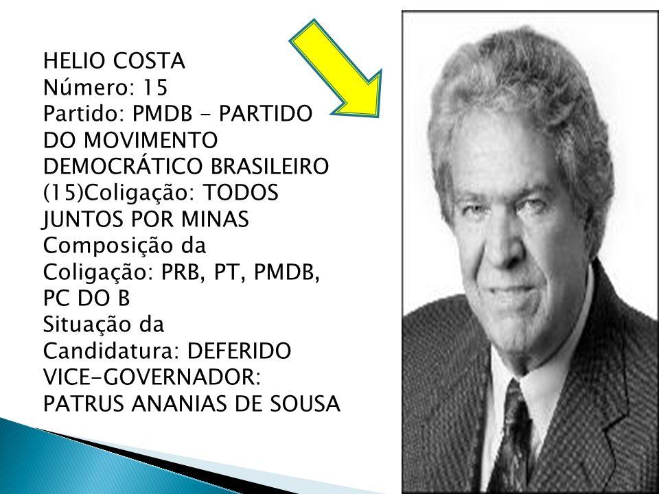 HELIO COSTA Número: 15. Partido: PMDB - PARTIDO DO MOVIMENTO DEMOCRÁTICO BRASILEIRO (15)Coligação: TODOS JUNTOS POR MINAS.