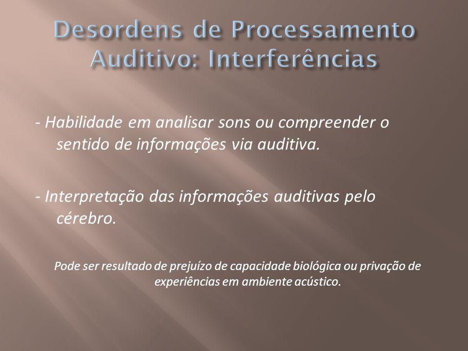 Desordens de Processamento Auditivo: Interferências