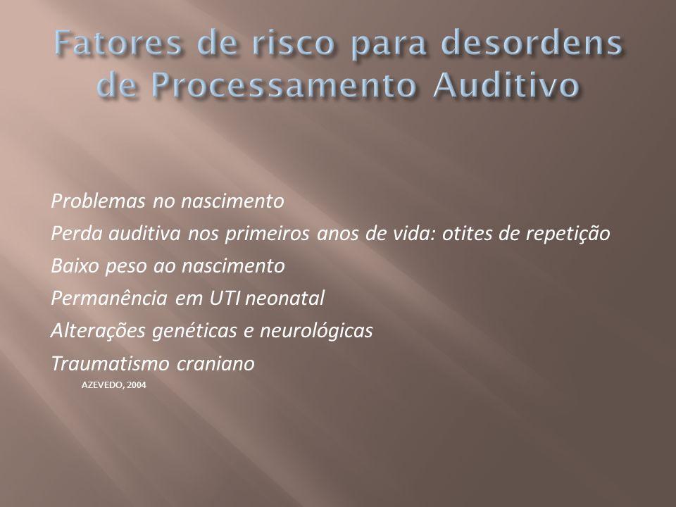 Fatores de risco para desordens de Processamento Auditivo