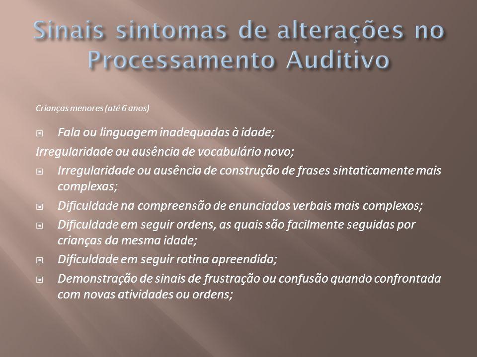 Sinais sintomas de alterações no Processamento Auditivo