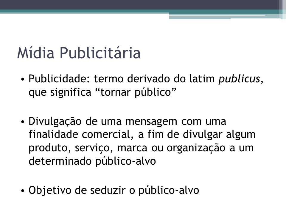 Mídia Publicitária Publicidade: termo derivado do latim publicus, que significa tornar público