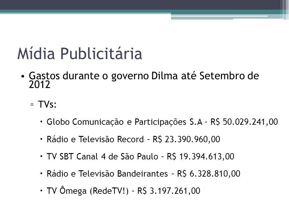 Mídia Publicitária Gastos durante o governo Dilma até Setembro de 2012