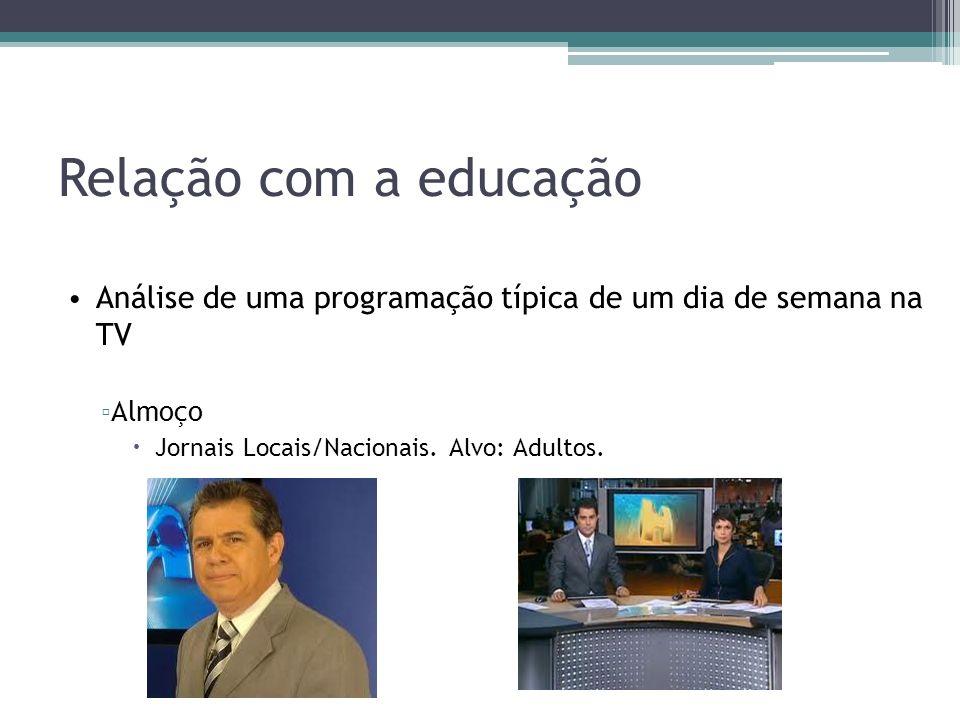 Relação com a educação Análise de uma programação típica de um dia de semana na TV.