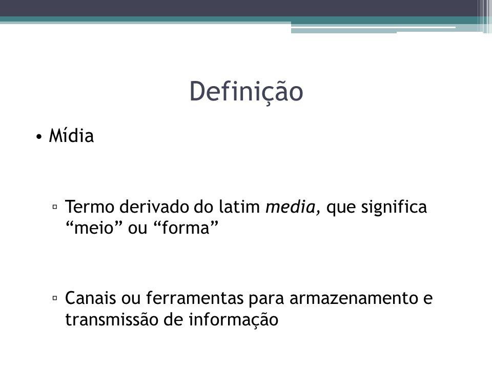 Definição Mídia. Termo derivado do latim media, que significa meio ou forma