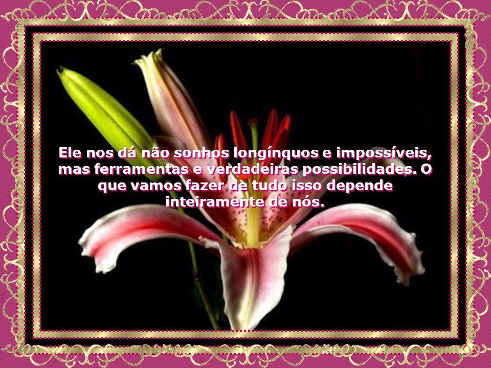 Ele nos dá não sonhos longínquos e impossíveis, mas ferramentas e verdadeiras possibilidades.