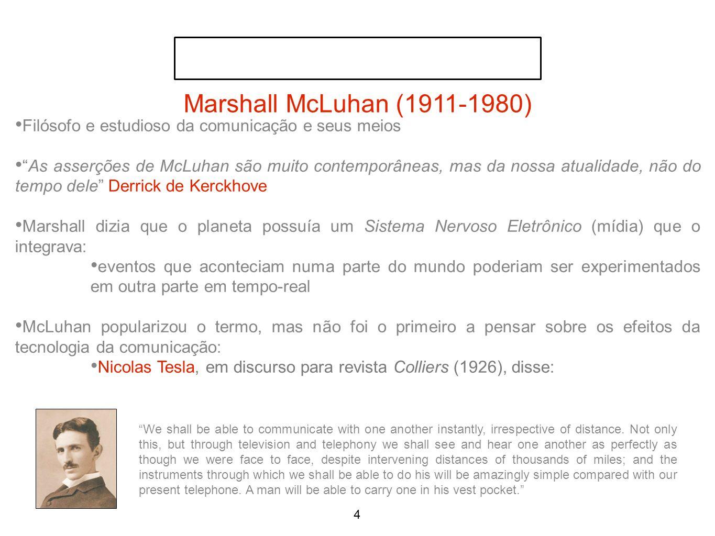 Marshall McLuhan (1911-1980) Filósofo e estudioso da comunicação e seus meios.