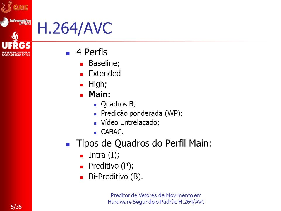 H.264/AVC 4 Perfis Tipos de Quadros do Perfil Main: Baseline; Extended