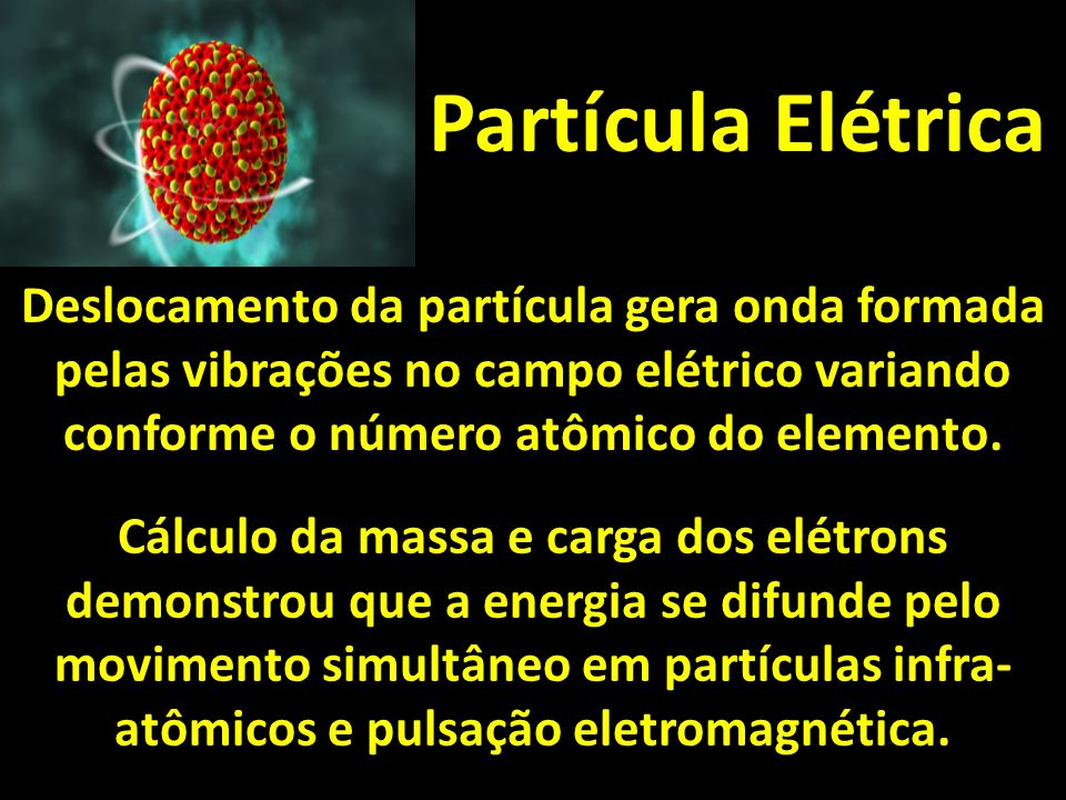 Partícula Elétrica Deslocamento da partícula gera onda formada pelas vibrações no campo elétrico variando conforme o número atômico do elemento.