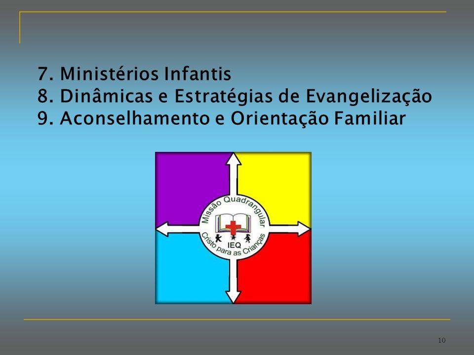 7. Ministérios Infantis 8. Dinâmicas e Estratégias de Evangelização.
