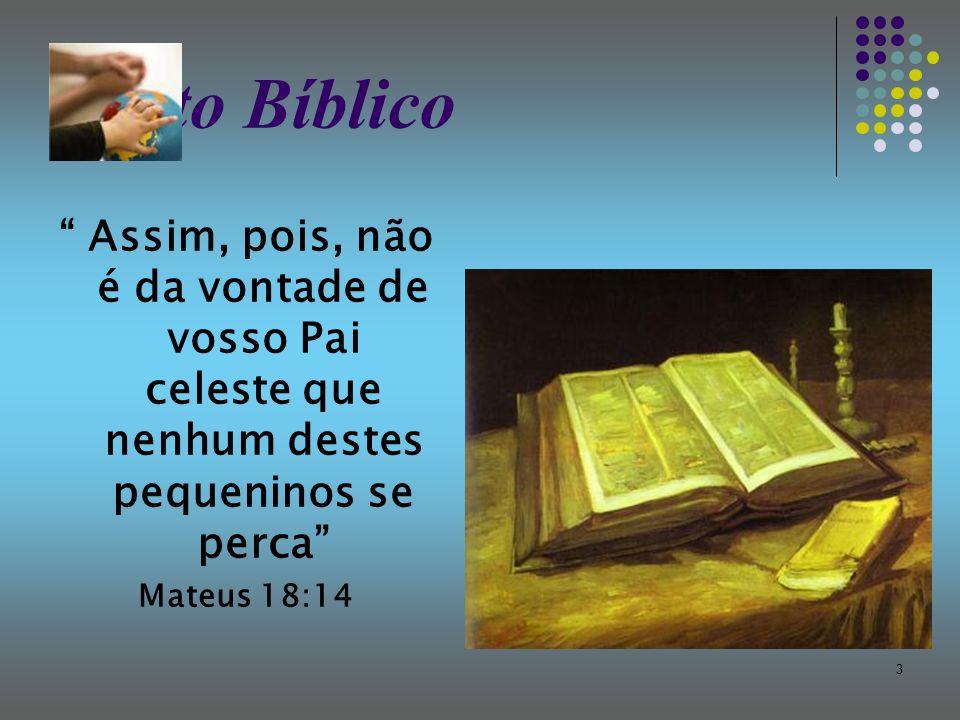 Texto Bíblico Assim, pois, não é da vontade de vosso Pai celeste que nenhum destes pequeninos se perca