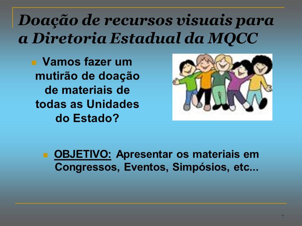Doação de recursos visuais para a Diretoria Estadual da MQCC