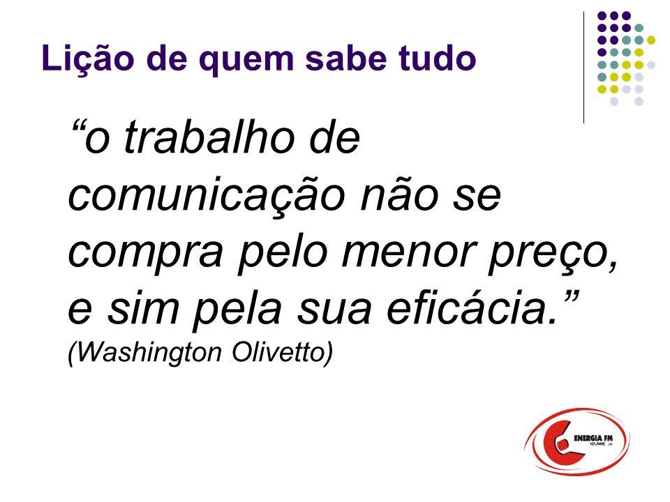 Lição de quem sabe tudo o trabalho de comunicação não se compra pelo menor preço, e sim pela sua eficácia. (Washington Olivetto)