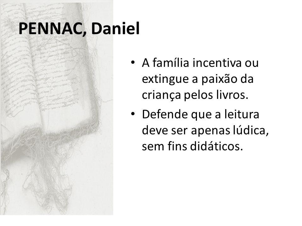 Pennac, Daniel A família incentiva ou extingue a paixão da criança pelos livros.