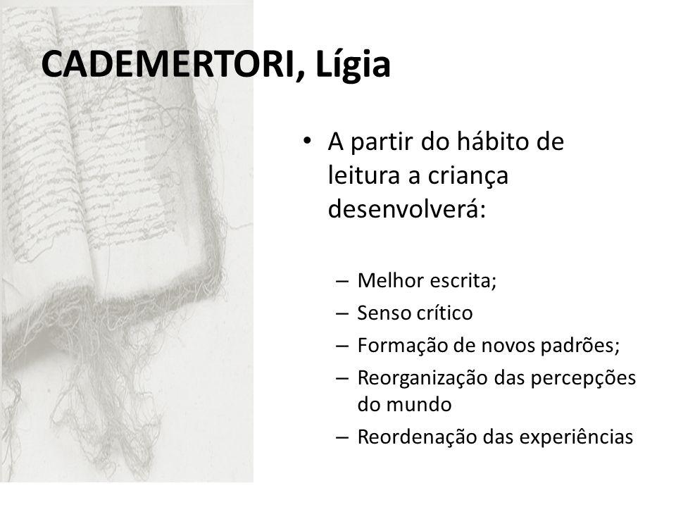 CADEMERTORI, Lígia A partir do hábito de leitura a criança desenvolverá: Melhor escrita; Senso crítico.