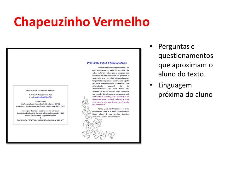Chapeuzinho Vermelho Perguntas e questionamentos que aproximam o aluno do texto.
