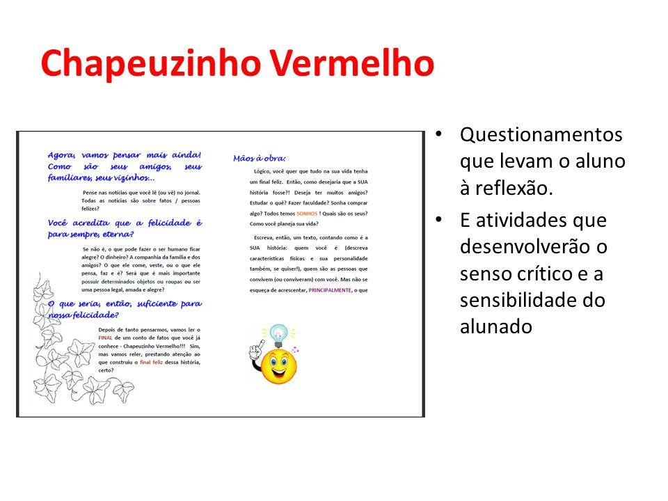 Chapeuzinho Vermelho Questionamentos que levam o aluno à reflexão.